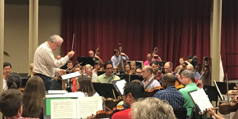 Maestro Stephen Osmond rehearsing with the Jackson Symphony