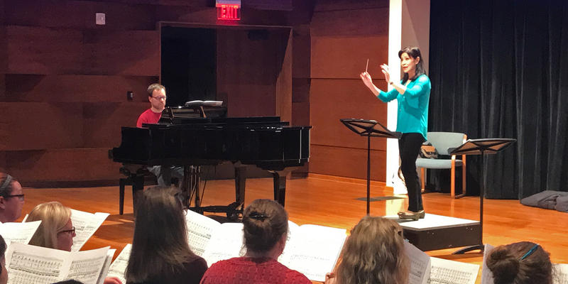 Grand Rapids Symphony's choral director Pearl Shangkuan in rehearsal