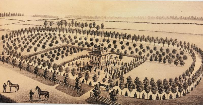 Sketch of the Abram C. Fisk House after completion by 1850. Blue Hat Coffee now occupies the home.