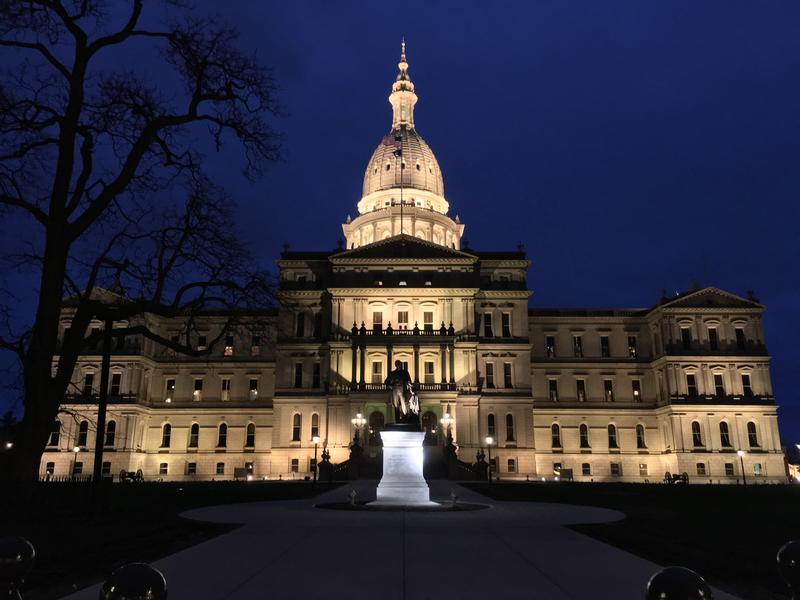 Michigan State Capitol at night.
