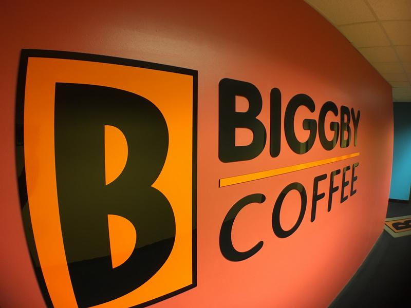 Hallway at Biggby headquarters in East Lansing.