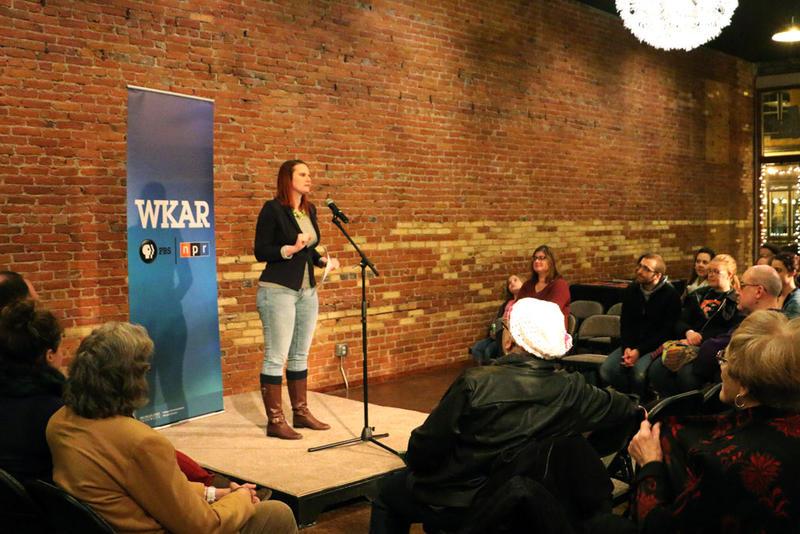 Melissa Osborn telling her story at Urban Beat