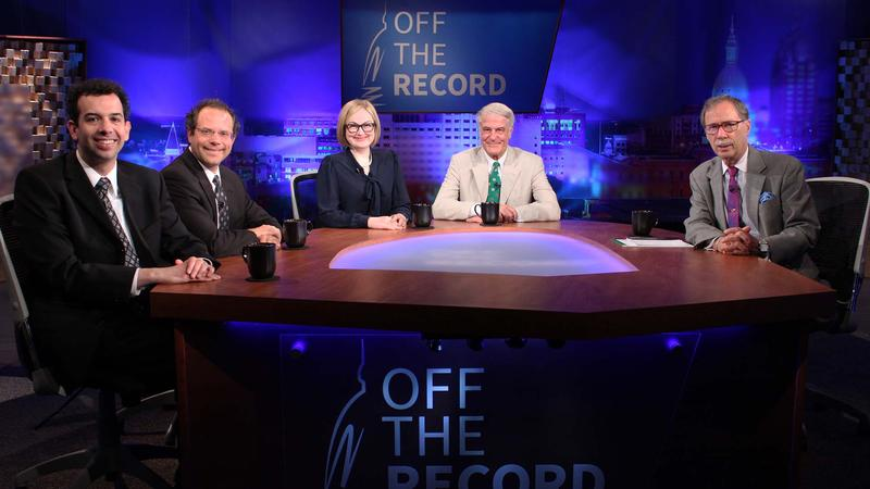 Zack Gorchow, Kyle Melinn, Zoe Clark and Bill Ballenger appearing on Off the Record with Tim Skubick.