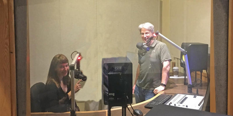Percussionist Lisa Pegher and LSO Maestro Timothy Muffitt at the WKAR Studios
