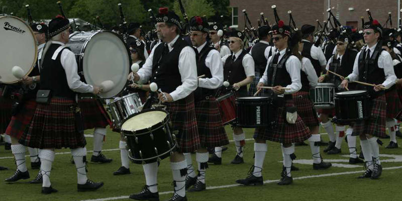 One of the Pipe Bands in competition at the Alma Highlands Festival