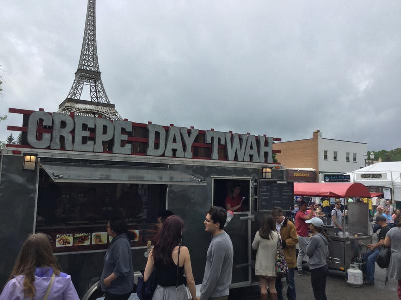 Crepe maker is one of several food vendors at East Lansing Art Festival.