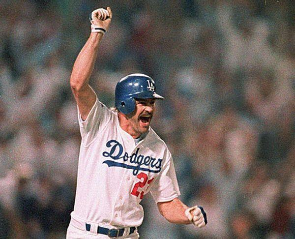Kirk Gibson celebrates his dramatic home run in the 1988 World Series