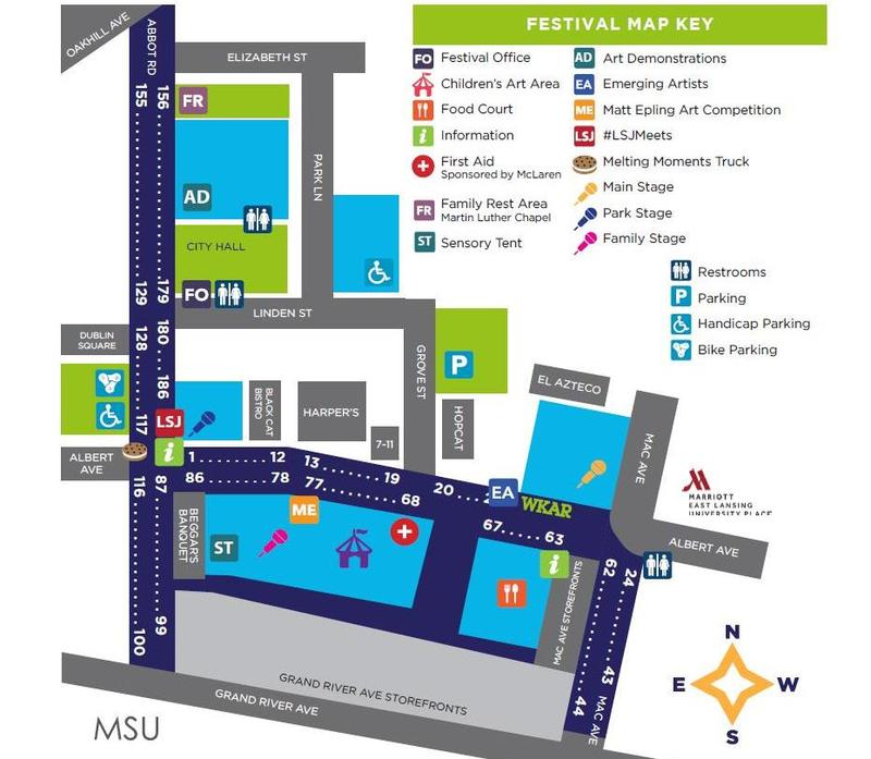East Lansing Art Festival map