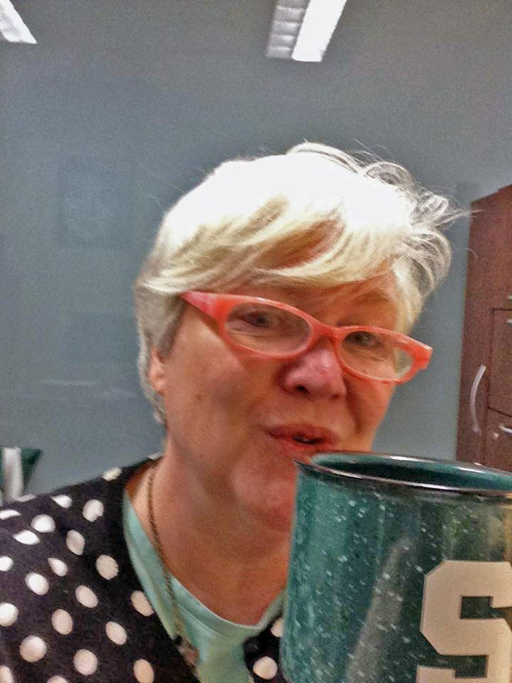 "WKAR listener Lois Furry: ""Perking up with WKAR and a cup of jo in my trusty block ""S"" mug."