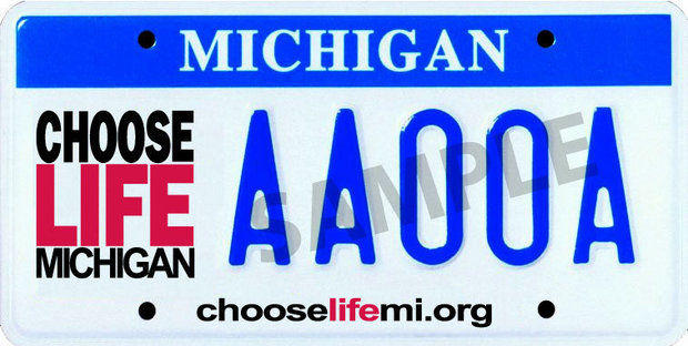 """Possible Michigan """"Choose Life"""" license plate image from LifeNews.com, a pro-life media source."""
