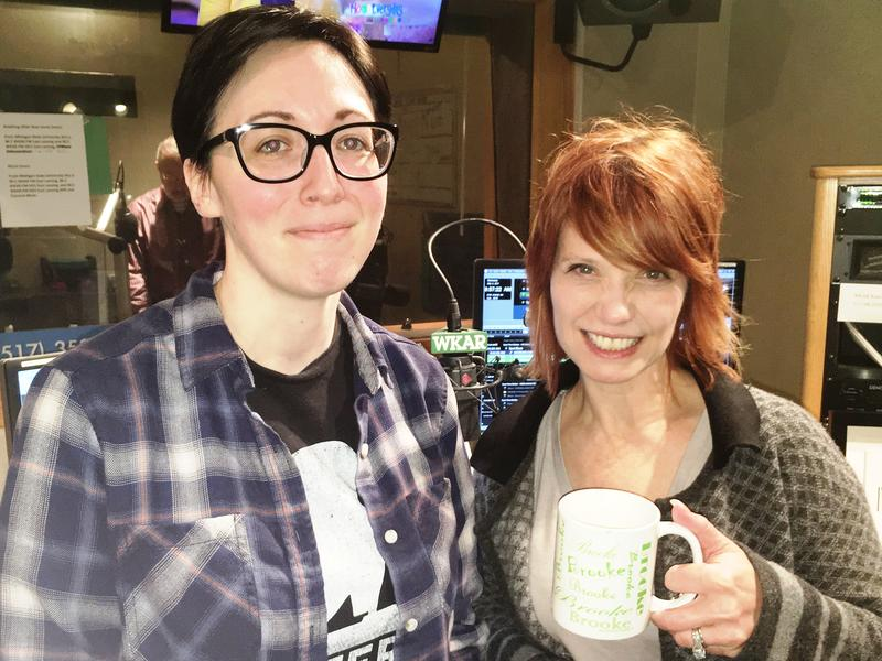 "Cara Nader, owner of Strange Matter and ""Morning Edition"" host Brooke Allen in the WKAR Studios"