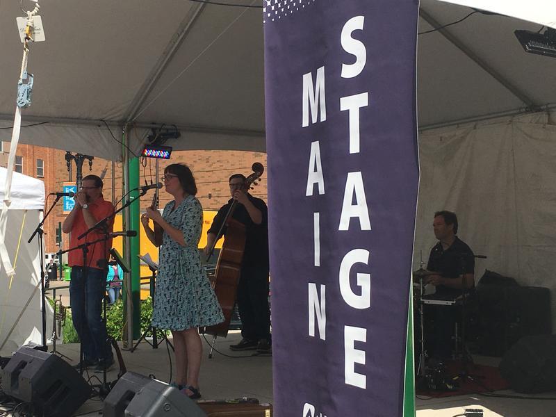 "Lansing band ""The Springtails"" perform at East Lansing Arts Festival."