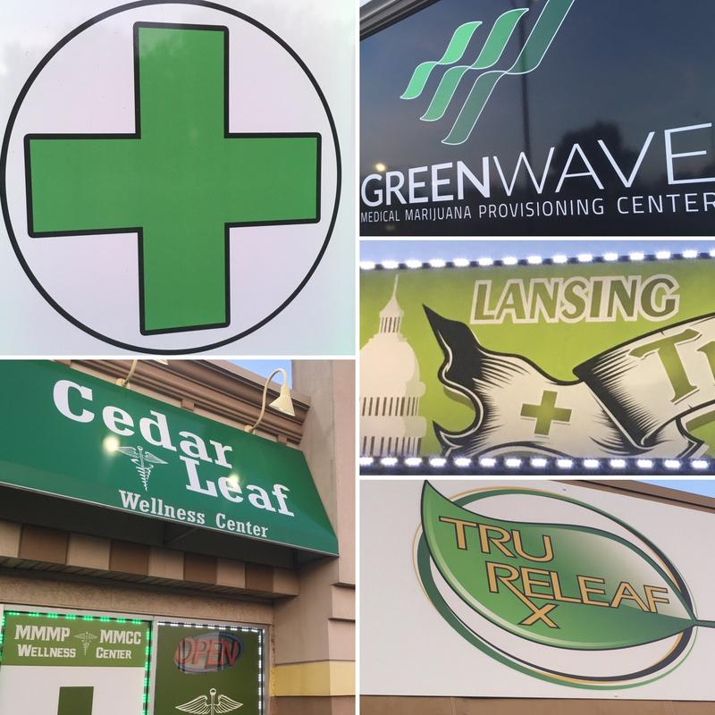 Various signs of medical marijuana dispensaries in Lansing.