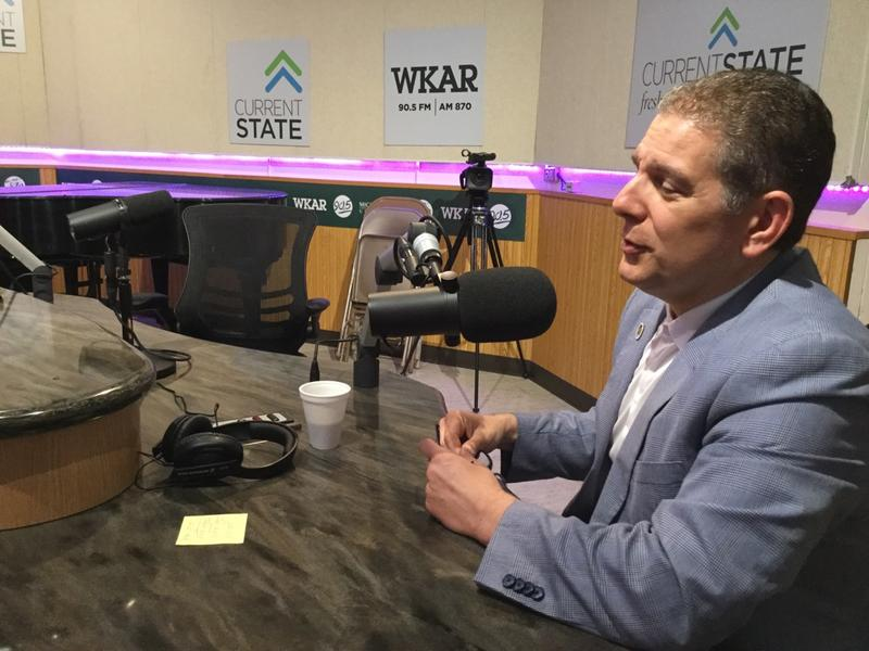 Lansing Mayor Virg Bernero in WKAR studios in June 2017.