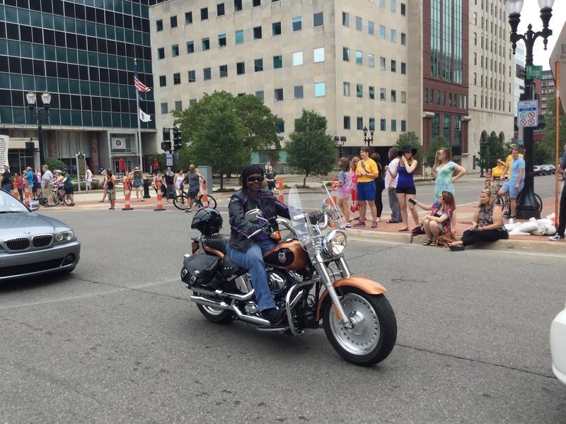 Pride parade participant.