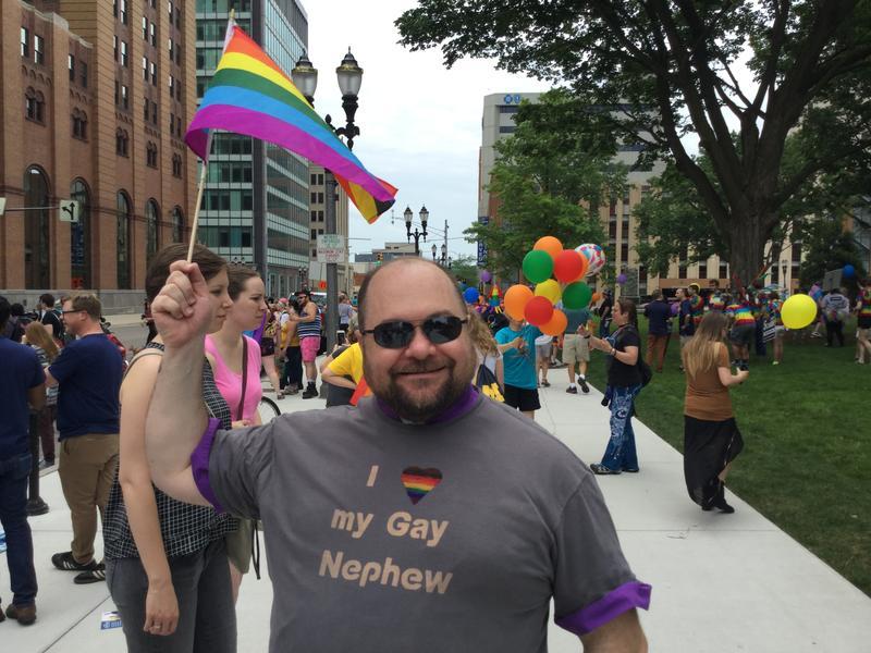 Pride parade spectator.