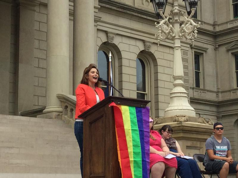 Democratic gubernatorial candidate Gretchen Whitmer addresses crowd at Pride rally.