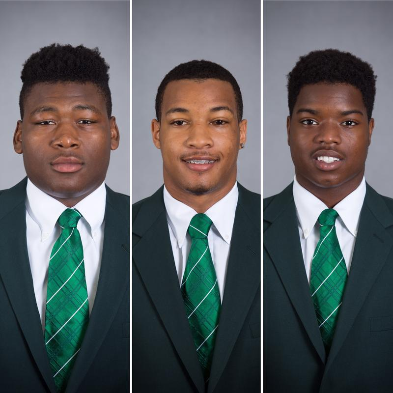Former MSU football players (left to right) Josh King, Demetric Vance, Donnie Corley
