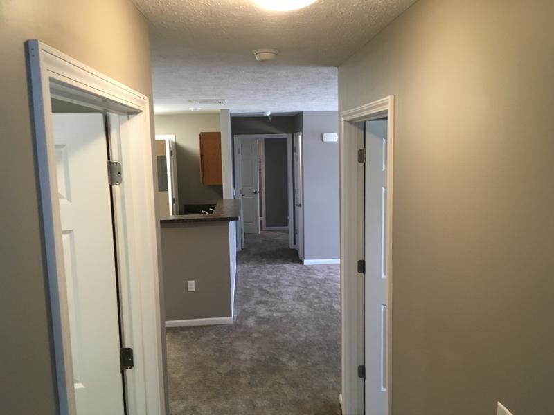 Hallway inside a Prestwick Village Apartment unit.