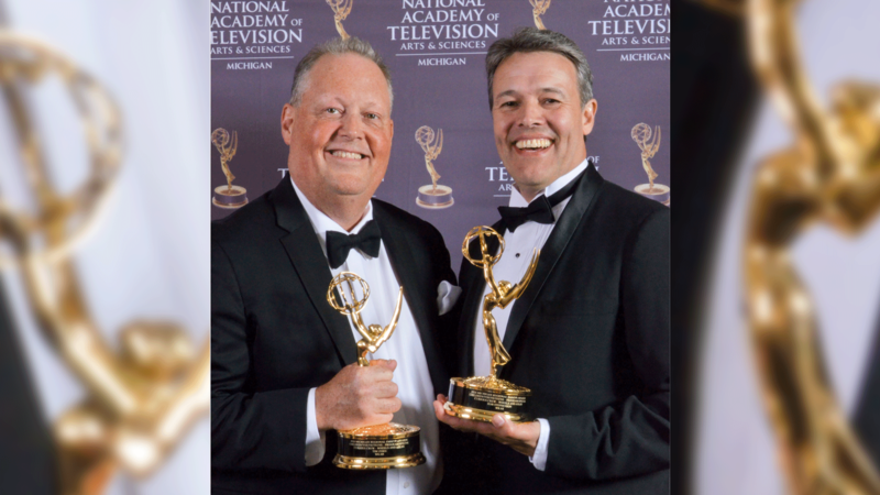 Rob and Tim with emmys