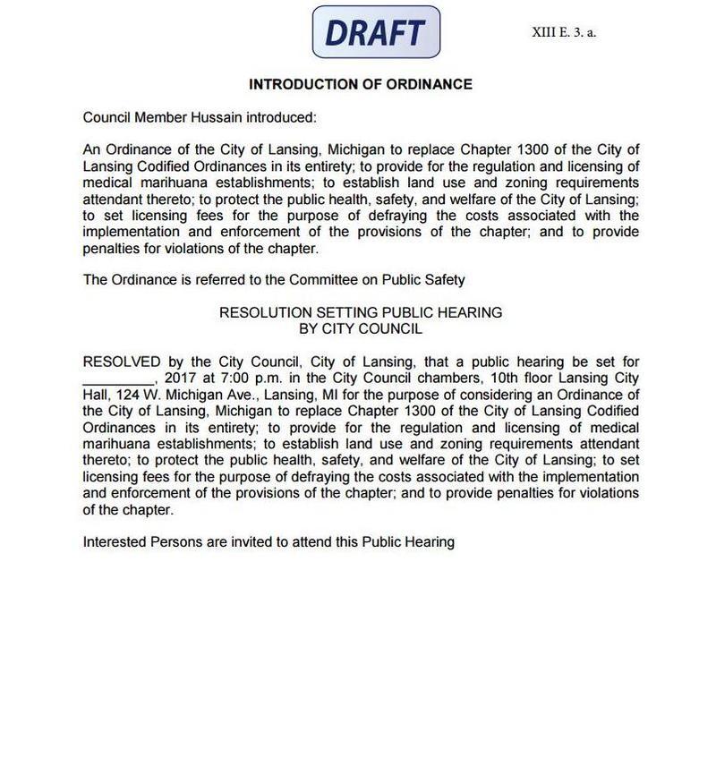 Draft of 2017 Lansing City Council ordinance dealing with medical marihuana (marijuana)