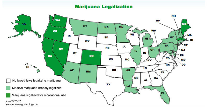 Us Map Of Legal Weed - Us map of legal weed 2017