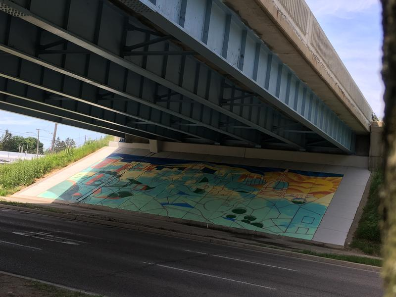 New mural along Michigan Ave. under US 127 overpass.