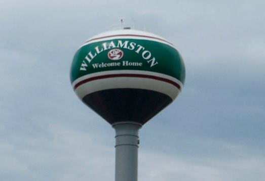 "Williamston's water tower now includes the ""Welcome Home"" tag line"