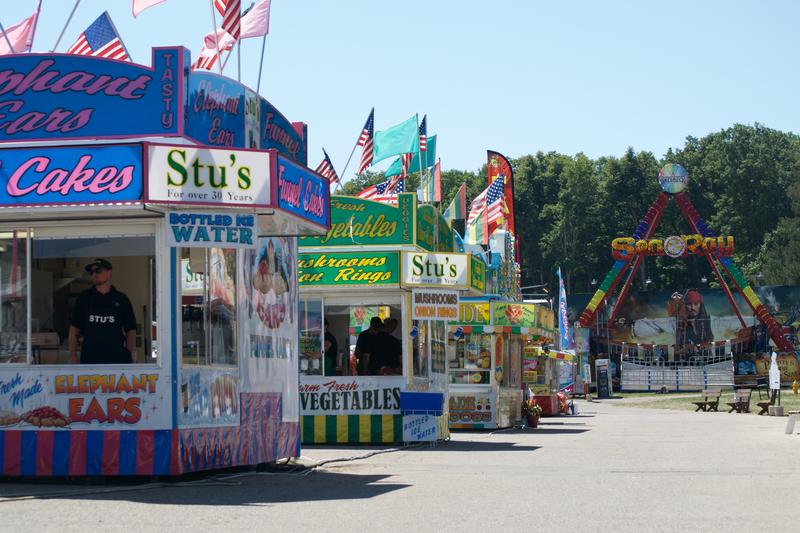 Row of food vendors at the Ingham County Fair.