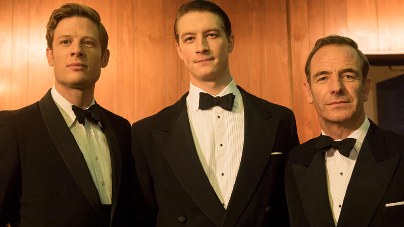 James Norton, Lorne Macfadyen, and Robson Green in black suits