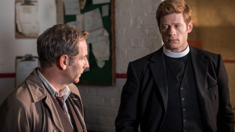 James Norton and Robson Green in brick room