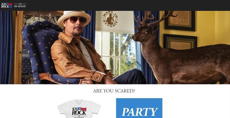 Musician Kid Rock on his U.S. Senate campaign website.