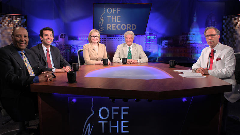 Chuck Stokes, Zachary Gorchow, Zoe Clark and Bill Ballenger appearing on Off the Record with Tim Skubick.