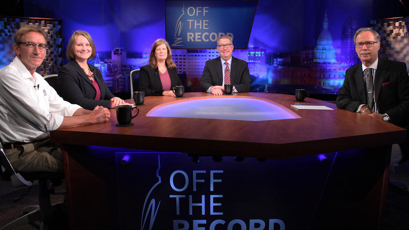 Dawson Bell, Stephanie Cepak, Kathy Hoffman and Roger Martin appearing on Off the Record with Tim Skubick.