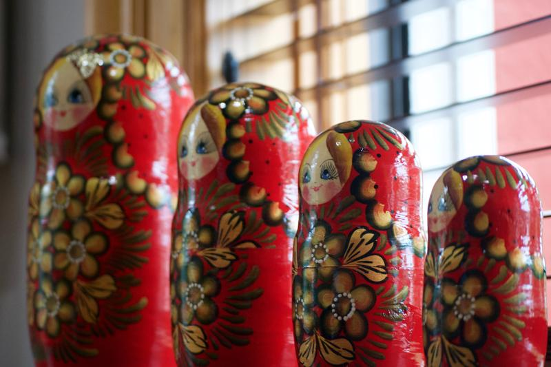 Red Russian nesting dolls