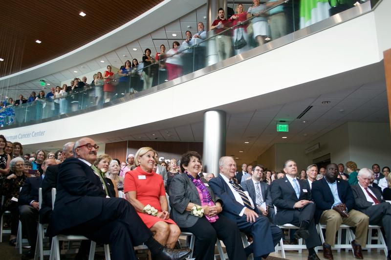 People gather on two floors of the new Herbert-Herman Cancer Center for the ribbon cutting on July 11, 2017.