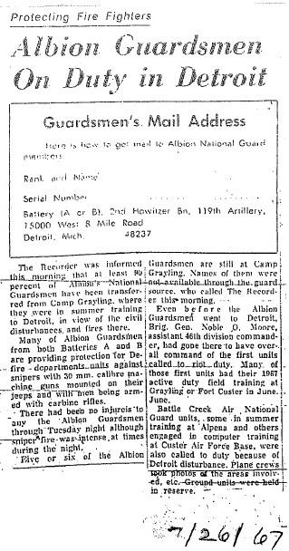 Albion Evening Recorder story on the National Guard sent to Detroit.