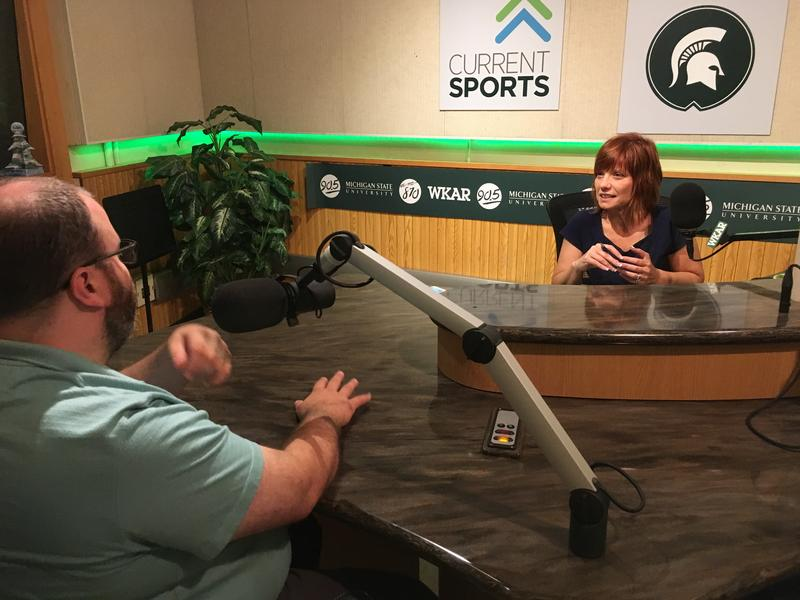 Owosso Mayor Chris Eveleth (left) talks to WKAR's Brooke Allen (right) in WKAR studios.