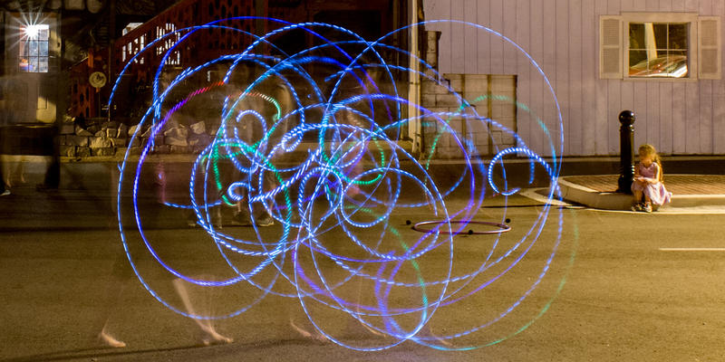 Time lapse of Nat Spinz with an LED hoop at Fire Flow Jam (with onlooker)