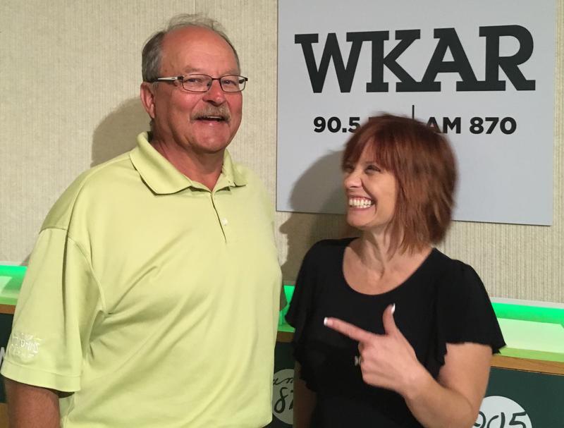 St. Johns mayor Dana Beaman (left) standing next to WKAR's Brooke Allen (right) at WKAR Studios.
