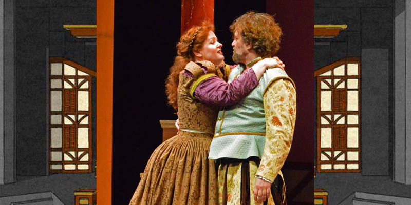Janice L. and David Blixt as Kate and Petruchio in MI Shakespeare Fest's The Taming of the Shrew
