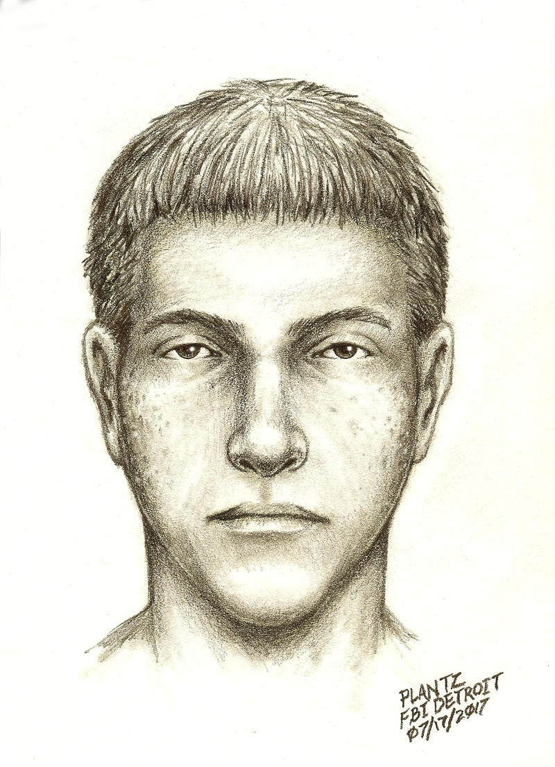 Composite drawing of a male suspect.