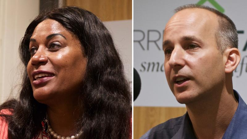Lansing mayoral candidates  Judi Brown Clarke (left) and Andy Schor (right).