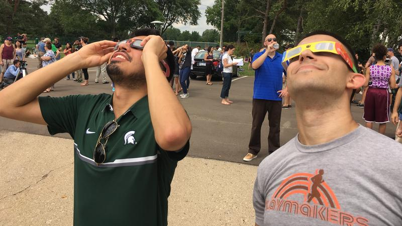 MSU Students John Carlo Martinez (left) and Gil Levanthal (right) view solar eclipse at MSU Observatory on August 21, 2017.