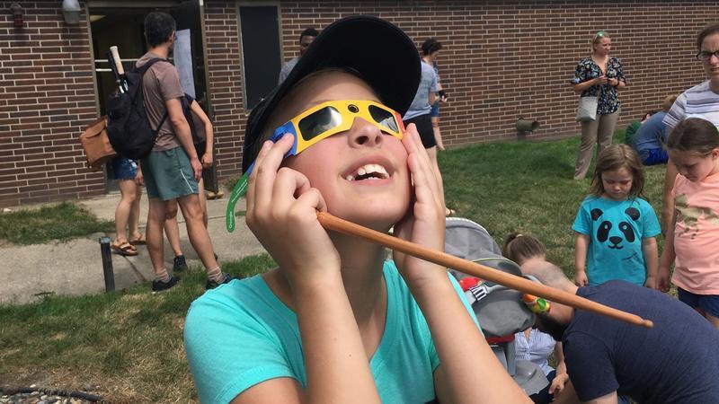 Holt student Faith Sharkey views solar eclipse on August 21, 2017.