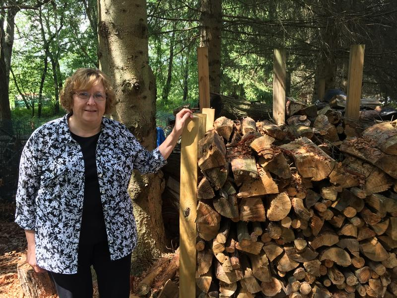 Martha Mikko stands by the wood pile in her yard where she saw a cougar a few years ago.