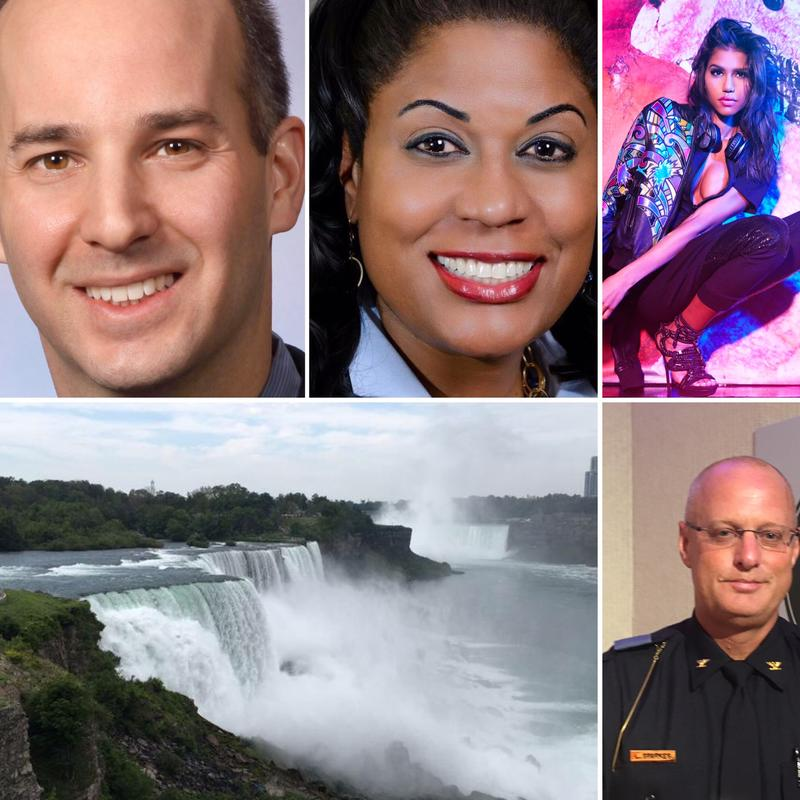 Top left: Lansing mayoral candiates Andy Schor & Judi Brown Clark; top right: woman modeling clothes created by twins in Grand Ledge; bottom left: Niagara Falls; bottom right: East Lansing police chief Larry Sparkes