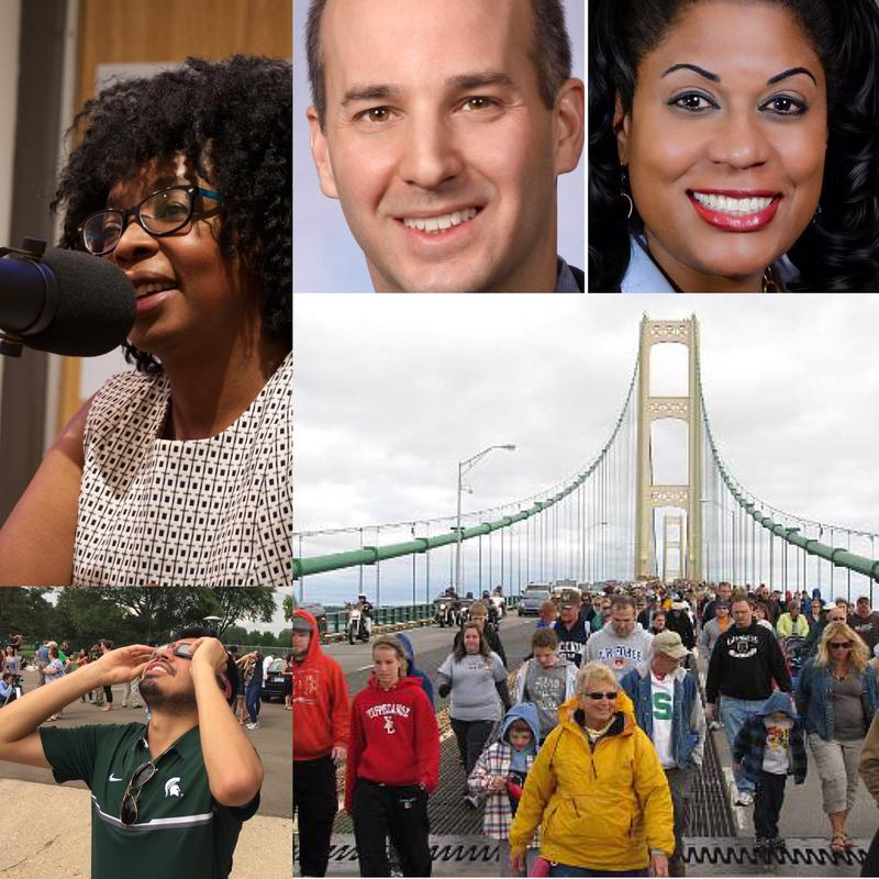 Top left: Matinga Ragatz, National Teachers Hall of Fame inductee; Top right: Lansing mayoral candidates Andy Schor & Judi Brown Clarke; Bottom left: man looking at solar eclipse on August 21, 2017; Bottom right: Mackinac Bridge walkers