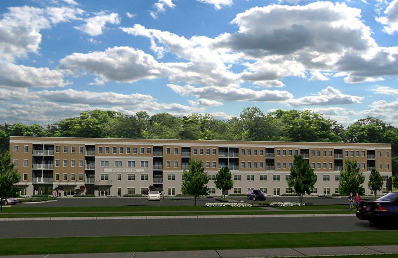 Rendering of new affordable apartment units being built on the campus of the former Michigan School for the Blind