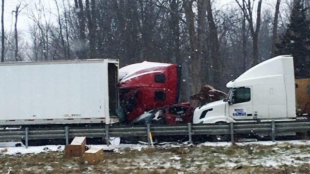 53-vehicle pileup in Fowlerville on December 8, 2016.